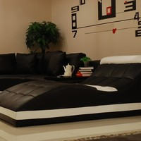 Extra Large Black Leather Sectional - Opulentitems.com