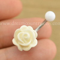 Rose Navel Jewelry, rose bud belly button ring,girlfriend gift