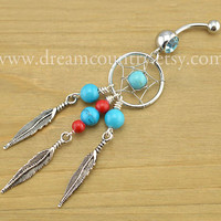 Dream catcher Belly Button Rings,Turquoise and Red Dream Catcher Belly Button Jewelry Ring Tribal Belly Ring