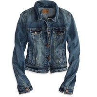 AEO Women's Faded Denim Jacket (Medium Rinse)