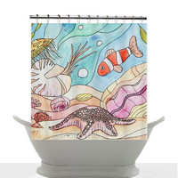Artistic Decorative Shower Curtain - Ocean Reef Undersea - Kids, children, teens, fish, ocean, clown fish, nautilus