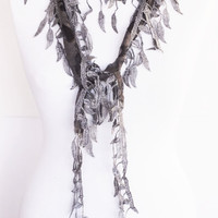 Gray Stylish Scarf With Fringed Lace, Fashion, Wedding, Spring Sale