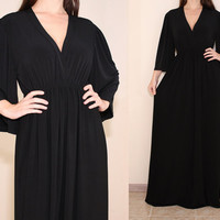 Women Maxi Dress Kimono Maxi Dress Black Maxi Dress for Women Maternity Dress