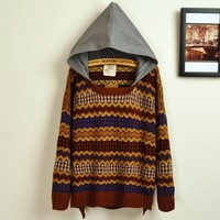 A 082725 Retro Hit Color Embroidered Big Yards Sweater