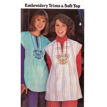 Boho Embroidery Transfer Blouses 1970s Vintage Sewing Pattern Butterick 4934 Size Medium 12 - 14 UNCUT FF