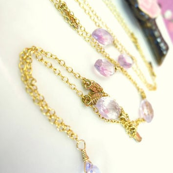 Pink amethyst dew drop gold leaf necklace, pink botanical leaf necklace, pink fall foliage necklace