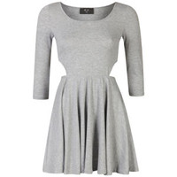 AX Paris Women's Cut Out Long Sleeve Skater Dress - Grey