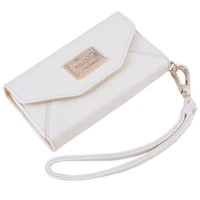 Premium Leatherette Wristlet Clutch Wallet Purse Case for Apple iPhone 5 with Back Camera Opening in Pearl White