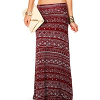 SALE-GrayBurgundy Tribal Diamond Maxi Skirt