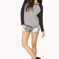 Sporty Striped Baseball Tee