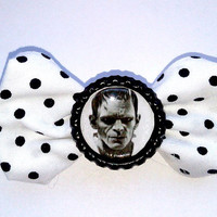 Small Frankenstein White Black Polka Dot Hair Bow- Psychobilly
