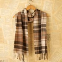 Vintage tan and black plaid wool scarf