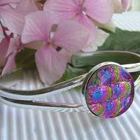 Dichroic Bracelet - Fused Glass Jewelry - Glass Bangle - Pink Dichroic Glass Adjustable Bangle