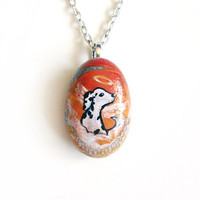 Dalmation Necklace, Pet Memorial Pendant, Hand Painted Stone, Angel Dog Jewelry, Natural Beach Rock, Pet Loss Accessory, Orange Sky Painting
