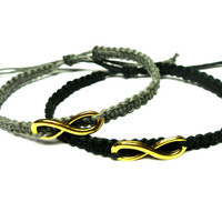 Infinity Bracelet Set, Grey and Black Macrame Hemp Jewelry, His and Hers, Adjustable