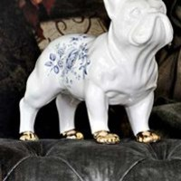 White Ceramic Bulldog Standing with Gold Lustre