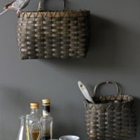 Set of 2 Woodchip Wall-Basket Light Grey