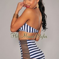 Navy-Blue Ivory Stripes High-Waist Strappy Bikini