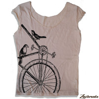 Womens Sparrow BIKE Scoop Neck Tee - american apparel T Shirt S M L XL (4 Color Options)