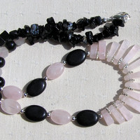 "Crystal Gemstone Statement Fan Necklace - Rose Quartz & Black Onyx  - ""L'Amore"""