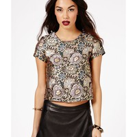 Missguided - Kaline Metallic Floral Brocade Top