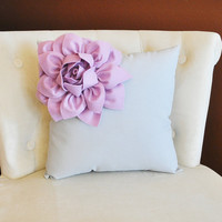 Lilac Corner Dahlia on Gray Pillow 14 X 14 -Flower Pillow- Baby Nursery Pillow