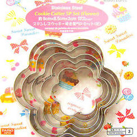 Bento Lunch  Box Accessory Flower  Cookie Cutters Stainless Steel 5 Piece Set