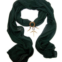 Hunter Green Jeweled Scarf