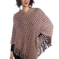 Double Dare Double Layer Knit Mesh Poncho - Pink from Do Everything In Love at Lucky 21