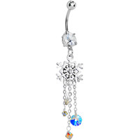 Handcrafted Snowflake Delight CZ Dangle Belly Ring   Body Candy Body Jewelry