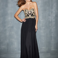 Lace Bodice Empire Waist Cut Out Back Prom Dress Night Moves 7000