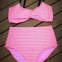 Neon Orange Striped High Waisted Bikini