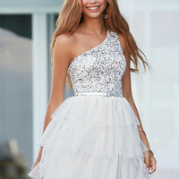 One Shoulder Tiered Dress