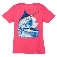 Misses Guy Harvey Marlin Boat T-Shirt