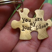 "Brass Hand Stamped Puzzle Key Chain, ""You Are My Lost Piece"", Love, Friendship, Parent Child, Autism, Perfect Gift for Any Loving Bond"