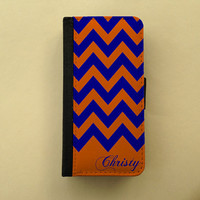 Navy orange Chevron, iPhone 4 5 wallet case Samsung Galaxy S3 S4 wallet, flip case, book style, iPhone 4S football - personalized