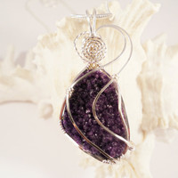 Druzy Jewelry, Wire Wrapped Pendant, Purple Agate