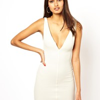 Oh My Love Plunge Neck Bodycon Dress
