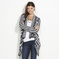 Say What? Geometric Drape Front Cardigan - Juniors