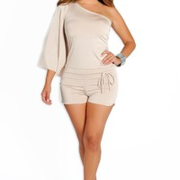 Champagne One Shoulder Short Romper