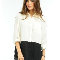 Cream The Bold Line Oversized Blouse  | $12.50 | Cheap Trendy Blouses Chic Discount Fashion for Wome