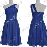 Short One Shoulder Chiffon Royal Blue Cocktail Dresses, Short Prom Dresses, Homecoming Dresses, Mini Prom Gown, Evening Gown, Formal Gown