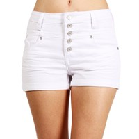 SALE-White High Waisted Denim Shorts