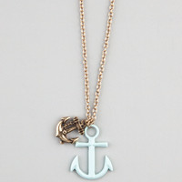 FULL TILT Double Anchor Charm Necklace