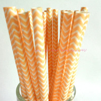 50 Light Orange Peach Chevron Paper Straws Vintage Paper Decorative Straws Party Straws Retro Wedding Paper Straws DIY Printable Flags FRE