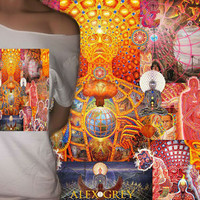Alex Grey Tribute Sacred Collage Tee/Tshirt (Choose from off The Shoulder or Crew Neck Collar)