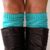 Cornflower Boot Cuffs Cable Knit Robin's Egg Blue Boot Liners Turquoise Toppers