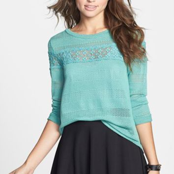 Lush Lace Inset Pointelle Sweater (Juniors) | Nordstrom