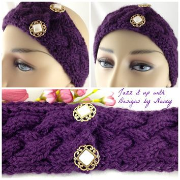 Rich Purple Cable ear warmer Hand knit Pearl gold buttons extra soft