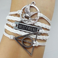 Hunger games letty retro inspired Mockingjay bird bracelet,best friend bracelet,Deathly Hallows Bracelet, Harry potter